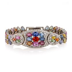 21.95 ctw Multi-Color Sapphire and 2.88 Diamond 14K White Golod Bracelet