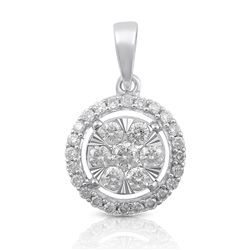 14K White Gold 0.50CTW Diamond Pendant Necklace, (SI3/H-H)
