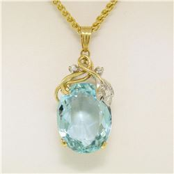 "14kt Yellow Gold 16.14 ctw Aquamarine and Diamond 18"" Pendant Necklace"