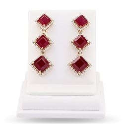 16.77 ctw Ruby and 1.41 ctw Diamond 14K Yellow Gold Earrings