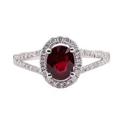 1.00 ctw Ruby and Diamond Ring - 14KT White Gold