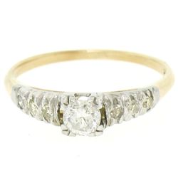 14K Two Tone Gold .40 ctw European Cut Diamond Solitaire Engagement Ring