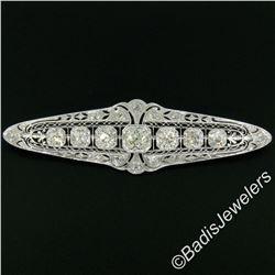 Art Deco Platinum 6.00 ctw Old European and Mine Cut Diamond Filigree Brooch