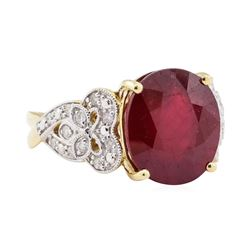 11.15 ctw Ruby and Diamond Ring - 14KT Yellow Gold