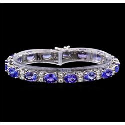 14KT White Gold 17.85 ctw Tanzanite and Diamond Bracelet