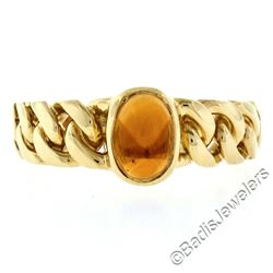 18kt Yellow Gold 0.85 ctw Oval Citrine Solitaire Ring w/ Cuban Link Shank