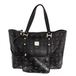 MCM Black Visetos Coated Canvas Large Tote Bag