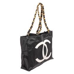 Chanel Black Canvas CC Large Tote Shoulder Bag