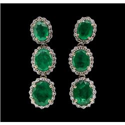 9.51 ctw Emerald and Diamond Earrings - 14KT Yellow Gold