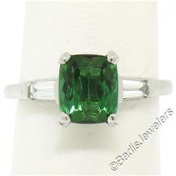 Vintage Platinum 2.03 ctw Green Tourmaline and Baguette Diamond Ring