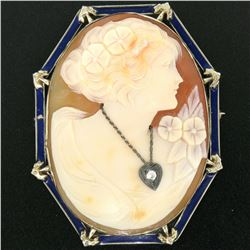 Vintage 14kt White Gold and Blue Enamel Carved Shell Cameo Brooch or Pendant