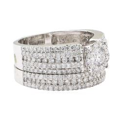 1.63 ctw Diamond Ring And Band - 14KT White Gold