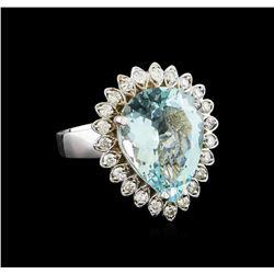 5.65 ctw Aquamarine and Diamond Ring - 14KT White Gold