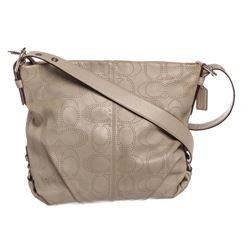 Coach Light Gray Perforated Monogram Leather Crossbody Handbag