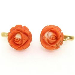 Antique 18kt Yellow Gold Carved Coral Flower Drop Earrings