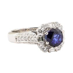 2.55 ctw Blue Sapphire And Diamond Ring - 18KT White Gold