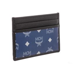 MCM Estate Blue Reflective Nylon Leather Mini Card Case