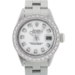 Rolex Ladies Stainless Steel White Diamond 18K Gold Bezel Datejust Wristwatch