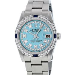 Rolex Womens Midsize 31mm Blue String Diamond & Sapphire Datejust Wristwatch
