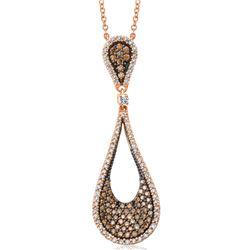 14k Rose Gold 1.18CTW Brown Diamonds and Diamond Pendant, (I1/SI3/H/Dark Brown)