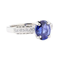2.16 ctw Sapphire And Diamond Ring - 18KT White Gold