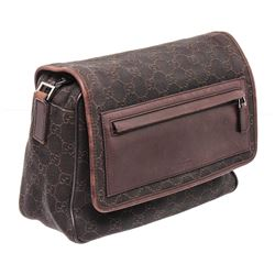 Gucci Dark Brown GG Canvas Leather Small Messenger Bag