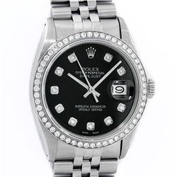 Rolex Mens Stainless Steel Black Diamond 36MM Datejust Wristwatch With Rolex Box