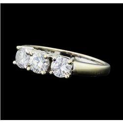 1.00 ctw Diamond Three Stone Ring - 14KT White Gold
