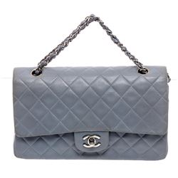 Chanel Baby Blue Lambskin Leather Classic Medium Double Flap Bag