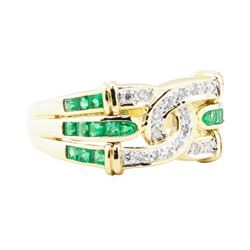 0.66 ctw Emerald And Diamond Ring - 18KT Yellow Gold