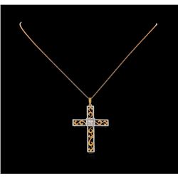 0.55 ctw Diamond Cross Pendant with Chain - 18KT Rose and White Gold