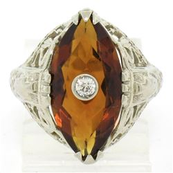 Antique Art Deco 14kt White Gold 3.06 ctw Citrine and Diamond Filigree Ring