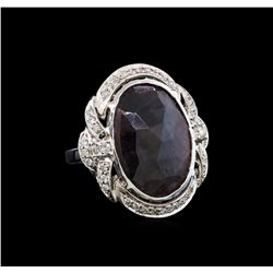 14KT White Gold 16.31 ctw Ruby and Diamond Ring