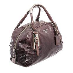 Prada Purple Patent Leather Tote Bag
