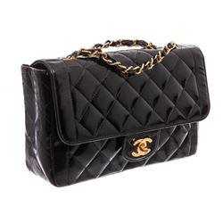 Chanel Vintage Black Patent Leather Medium Diana Flap Bag