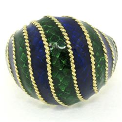 Vintage 18kt Yellow Gold Striped Blue and Green Enamel Dome Ring
