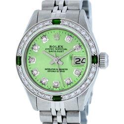 Rolex Ladies Stainless Steel Green Diamond & Emerald Datejust Wristwatch