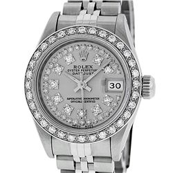 Rolex Ladies Stainless Steel Slate Grey Diamond Datejust Wristwatch