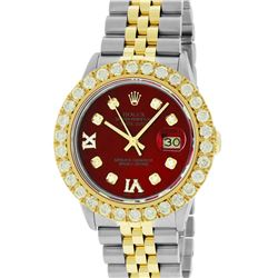 Rolex Mens 2 Tone Red VS 4 ctw Beadset Diamond Datejust Wristwatch with Rolex Bo