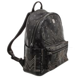 MCM Black Visetos Canvas Leather Medium Studded Backpack