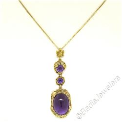 Victorian 14kt Yellow Gold 9.00 ctw Amethyst Dangle Pendant Necklace