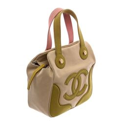 Chanel Beige Green Pink Canvas CC Tote Bag