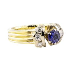 1.27 ctw Blue Sapphire And Diamond Ring - 14KT Yellow And White Gold