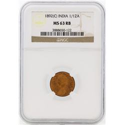 1892 India 1/12 Annas Coin NGC MS63RB