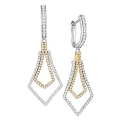 3/4 CTW Round Diamond Flared Dangle Earrings 14kt Two-tone Gold - REF-52W8F