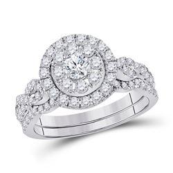1 CTW Round Diamond Bridal Wedding Engagement Ring 14kt White Gold - REF-96K3R