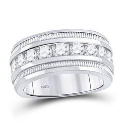 2 CTW Mens Round Diamond Single Row Fluted Wedding Ring 14kt White Gold - REF-299F9M