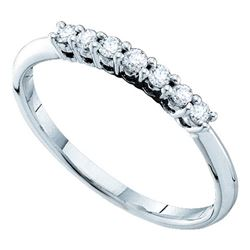 1/5 CTW Round Pave-set Diamond Slender Wedding Ring 14kt White Gold - REF-18T3K