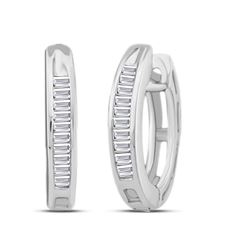 1/6 CTW Baguette Diamond Huggie Hoop Earrings 10kt White Gold - REF-9T3K