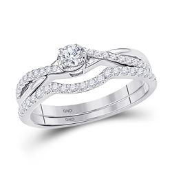 1/3 CTW Round Diamond Bridal Wedding Engagement Ring 10kt White Gold - REF-24H3W